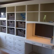 Home office desk with shelves