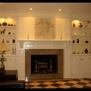 Tile and wood mantle