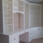 Desk and bookshelves