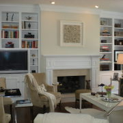 White and tan fireplace